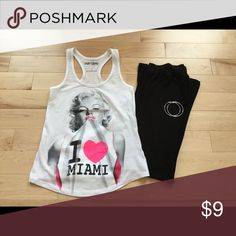 """Marilyn Monroe I 💗 Miami Muscle Tee Marilyn Monroe muscle tee with decal """"I 💗 Miami"""". Tee stretches and fits snug. 60% combed cotton 40% polyester. Given as a gift from Miami and worn only once. Surf Style Tops Muscle Tees"""