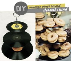 vintage vinyl record cake stand