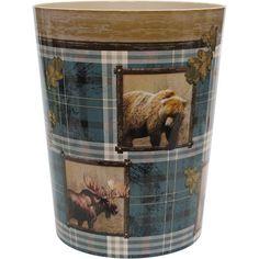 Mainstays Plaid Lodge Wastebasket, Multicolor