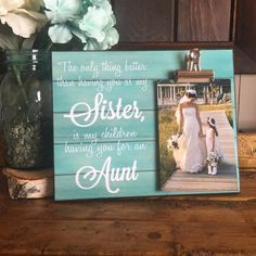 Christmas Gifts For Sister, Birthday Gifts For Sister, Birthday Ideas, Aunt Gifts, Sister Gifts, Personalized Picture Frames, Personalized Gifts, Wood Transfer, Wooden Pegs