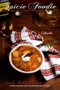 Zelnečka: Czech Cabbage Soup (With Vegan Option) by Spicie Foodie. This hearty Czech soup will keep you warm all winter long. It tastes smokey, tangy, with hints of paprika and just plain scrumptious!