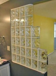 Wood door with glass block windows i have always loved for Banos decorados con ceramica