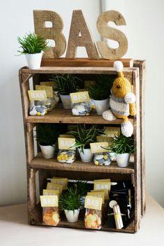 Kraamkado - suikerbonen en plantjes in oude houten kist