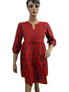d17a2d9b077 India Womens Fashion Kurta Printed Tunic Dress 100% Cotton Top Blouse Small  Size $19.00 Indian