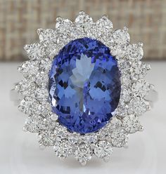 ESTATE 5.72CTW NATURAL BLUE TANZANITE AND DIAMOND RING 14K SOLID WHITE GOLD
