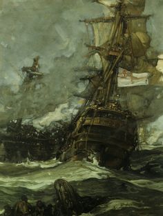 Sir Frank Brangwyn, R.A. (1867-1956)  The Brunswick Caught Anchors with her Enemy -1893