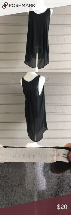 Sheer solid black Hi-lo tank Hi Y'all! All items in my closet are sold as is, any flaws that I find while I do my inspection will be displayed in the photographs or notes below. Measurements are available on request, and I'm happy to answer any questions you might have, or post additional photos. If you're concerned about fit or anything else please, please, please ask before purchasing! Items come from a smoke free home with one big fur baby, I launder all clothing before posting unless…