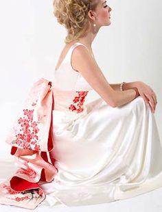 Obi Wedding Dress Love the idea of inter working a bit of Japanese culture into a wedding dress.
