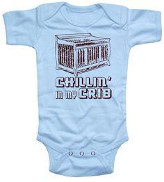 Baby Boy Bodysuit, funny onesie baby shower gift, Chillin in my Crib. $16.00, via Etsy.
