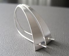 Modernista Sterling Silver Earrings Sleek Earrings by CuteJewels, $45.00