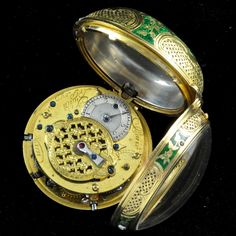 """A gold Antique quarter repetition enamelled watch by Julien le Roy, Paris no 1771 circa 1740 Julien Le Roy was """"clock-maker to the king""""and was one of the finest and most famous clock-makers of his time in France. Floral flowerwork in green champlevée enamel on the outer case. The case is pierced at the side. Le Roy furnished the white enamelled dial with Arabic and Roman numerals and diamond set silver hands. The button is diamond set The movement has verge escapement with chain and fusee."""