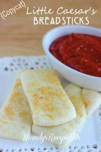 Copycat Little Caesar's Breadsticks //  These taste exactly like Little Caesars breadsticks.  We used the thin crust pillsbury pizza dough.  Definitely making these again!
