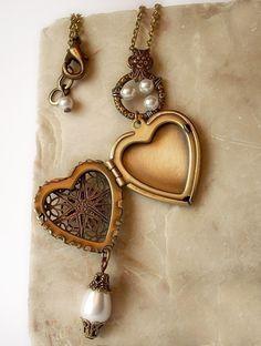 Brass Heart Locket Necklace