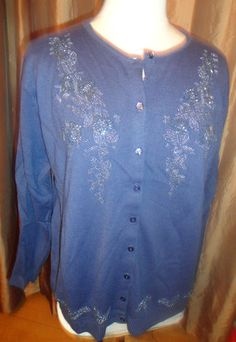 Womens Jenny Blue long sleeve embellished sweater Acrylic button front XL. Find me at www.dandeepop.com
