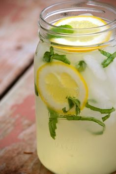 Basil Lemonade. I'm going to make me some of this. http://www.alaskafromscratch.com/2012/04/24/basil-lemonade/#
