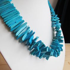 Blue rectangular wood beads 16 inch strand width by FARRAgem Turquoise Necklace, Christmas Gifts, Shapes, Beads, Trending Outfits, Wood, Unique Jewelry, Sticks, Handmade Gifts