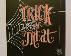 Trick Or Treat Sign Halloween Chalkboard Art by LilyandVal