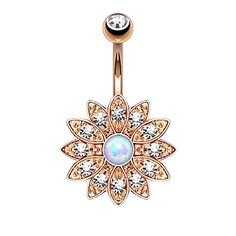 Jeweled Opal Flower Rose Goldtone Belly Button Ring BodyJ4You