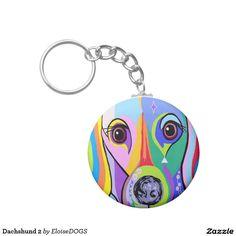 Dachshund 2 basic round button keychain