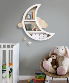 Create a fun kids space with this unique moon shaped feature wall shelf with clo. Create a fun kids space with this unique moon shaped feature wall shelf with cloud and hanging star Cloud Bedroom, Baby Bedroom, Baby Boy Rooms, Baby Room Decor, Kids Bedroom, Bedroom Decor, Childrens Bedroom, Girl Rooms, Nursery Wall Shelf