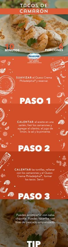 Es cierto, en esas tardes calurosas estos Tacos de camarón son tu mejor aliado. #recetas #receta #quesophiladelphia #philadelphia #quesocrema #queso #comida #cocinar #cocinamexicana #recetasfáciles #recetasPhiladelphia #recetasdecocina #comer #tacos #taco #camaron #camarones #taquiza #mariscos
