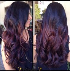 Dark purple and rose ombré for dark hair