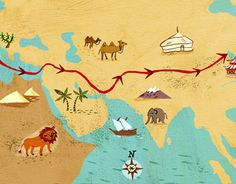 Map illustration for Marco Polo's Journey by Oxford University Press Journey Mapping, Marco Polo, New Work, Places To Travel, Childrens Books, Behance, Gallery, Illustration, Check