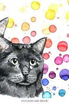 #Katze  malen lassen | Aquarell | Portrait | Zeichnen | Ideen | kreativ | Kunst | Tierportrait | Katzen | bunt | Regenbogen | Farbkleckse | Hundeblog | Aram und Abra | www.aram-und-abra.de