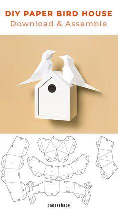 Paper Crafts Origami, Origami Art, Diy Paper, 3d Templates, Paper Craft Templates, 3d Paper Art, Paper Birds, Paper Models, Paper Toys