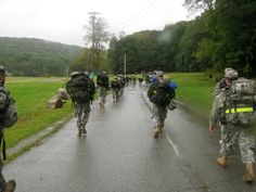 Junior and Senior cadets Rucking up Camp Smith, NY