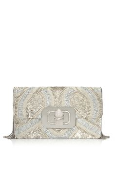 Marchesa Large Phoebe Shoulder Bag with Silver Sequin Embroidery