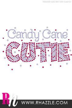 Candy Cane Cutie Rhinestone Shirt - Rhazzle Designs - Rhinestone T-Shirts and Apparel