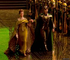 Mama Frigga and her baby boy *gif*, I love how much of a mother she is to him even though she knows he's not really hers, she's so wonderfully kind and Loki does love her as his mommy its a cute relationship :)