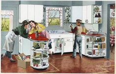 Red and chrome retro Kitchen. Wonder how many of us baby boomers grew up with a kitchen like this?