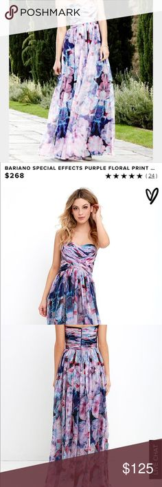 BARIANO special effects wrap maxi dress large nwt BARIANO speical effects maxi dress was sold out. New with tags. Retails $268. Size large. Perfect for prom wedding cruise formal college beautiful ombré watercolors barino Dresses Maxi