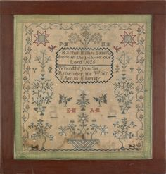 166: Silk on linen sampler dated 1828, wrought by : Lot 166