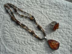 Amber Pendant Necklace and Matching Ring by LandofBridget on Etsy, $25.00