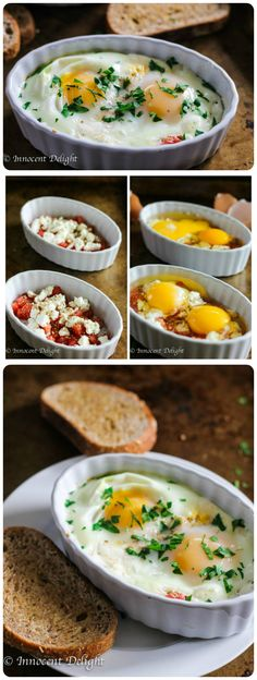 Baked Eggs with Tomatoes and Feta Cheese. Easy and melty delicious.