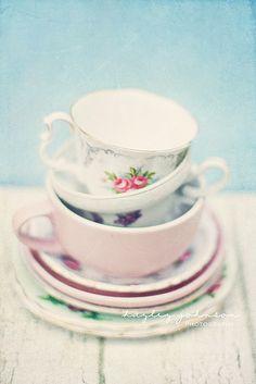 vintage china cups, pale pastels