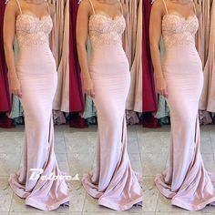 Pink Jersey Sweetheart Mermaid Prom Dress With Lace Sweep Train  - Thumbnail 1