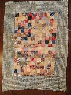 Antique Vintage Early 1900's Postage Stamp Doll Quilt.