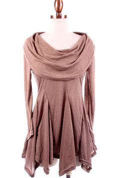 Cowl Neck Tunic Top Long Sleeve Flared Godet Insert Shark Bite Hem Mocha New M | :: I really like this, but I'd make it with the slits starting lower down, and make it a tunic that would actually cover my rear end that  I could wear with leggings.