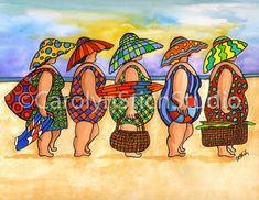 Rug Hooking Pattern: 5 Girls on the Beach – Honey Bee Hive Plus Size Art, Fat Art, Rug Hooking Patterns, Art Impressions, Coastal Art, Naive Art, Art Themes, Whimsical Art, Funny Art