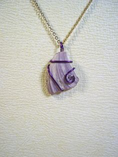Purple muscle shell pendant - wire wrapped pendant - seashell pendant - necklace pendant - jewelry. $15.00, via Etsy.