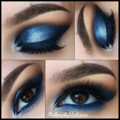 Shock of blue, big eyelashes, and bold eyebrows makes this great for matching or contrasting your ballroom or latin dress. Visit http://ballroomguide.com/comp/hair_make_up.html for more hair and makeup info