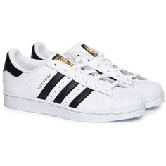Adidas Superstar white sneakers (165 RON) ❤ liked on Polyvore featuring shoes, sneakers, adidas, adidas sneakers, white sneakers, adidas trainers and white trainers