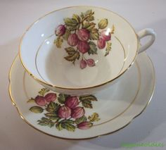 Stanley England Bone China Cup Saucer Gooseberry Fruit Decal Gold Trim #Stanley