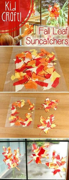 LOVE this craft! Fall color leaf sun-catchers that will brighten up your home while also being a fun craft for the kids. LOVE this craft! Fall color leaf sun-catchers that will brighten up your home while also being a fun craft for the kids. Fall Crafts For Kids, Craft Activities For Kids, Thanksgiving Crafts, Crafts To Do, Holiday Crafts, Kids Crafts, Craft Ideas, Kids Diy, Decor Crafts
