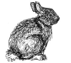 Bunny illustration, rabbit drawing, black and white art, original ink drawing of a sitting cottontail rabbit, springtime, nursery decor. $35.00, via Etsy.