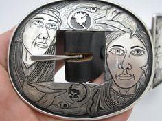 Navajo Andrew Todacheene Sterling Silver Ranger Belt Buckle Set Signed